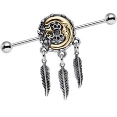 14 Gauge Moon Star Dreamcatcher Feather Dangle Industrial Barbell 38mm