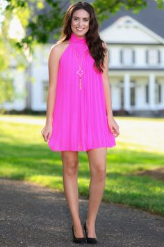 Lana Hot Pink Mock Neck Shift Dress $42.00