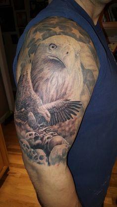 Eagles, American flag, pride, skulls, arm tat, sleeve, American pride