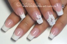 Lovely Wedding Flowers: Cinderella's Art Nails creates a beautiful pink & white nail with sculpted flowers from acrylic with rhinestone embellishments. - See more at: http://www.dailynails.com/nail-art/theme/bridal#sthash.Qs2bPCjM.dpuf