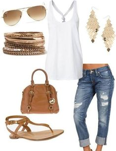 White tank top, denim capris, aviator sunglasses, jewelry, hand bag, and lt. brown sandals