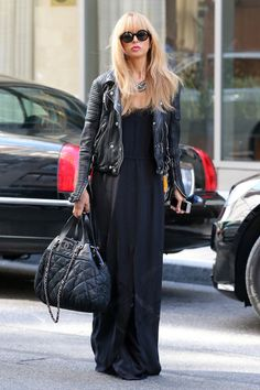 Rachel Zoe, Queen of glam rocking a black maxi, moto-jacket, and quilted Chanel bag.