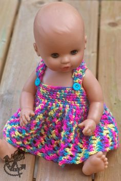 Doll's Dress Crochet Pattern For Baby Dolls, Barbies & Teddy Bears