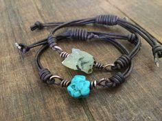 Turquoise Nugget Leather Bracelet with copper Bracelet En Cuir Diy, Diy Leather Bracelet, Bracelets For Men, Jewelry Bracelets, Handmade Leather Jewelry, Southwestern Jewelry, Diy Earrings, Beaded Jewelry, Jewelry Making