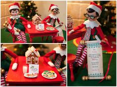 Elf on the Shelf Idea. It's Christmas Eve Time. The elves left out some cookies and milk for Santa. They also brought their consensus scrolls whether the children made the nice or naughty list. And the verdict is...(drum roll)... To view more pins like this one, search for Pinterest user amywelsh18.