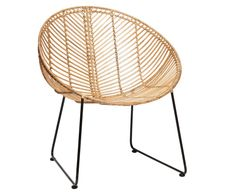 Fancy Lounge armchair in natural rattan with steel base by H BSCH COLONEL shop design and contemporary furniture in PARIS