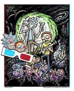Rick and Morty 'Rickor Mortis' 3D Poster with Glasses - Signed Limited Edition of 100  Your favorite Schwifty duo portal gunned themselves into the 3rd dimension. Wubba lubba dub dub! Meeseeks, Plombuses, evil Ricks and Mortys beware...  Lots of hidden characters and show references... Can you spot them all?