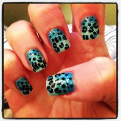 "Leopard Nail Art!  Gradient blues, OPI's ""The One That Got Away"" blue glitter and then blue leopard spots with black dots.  :)"