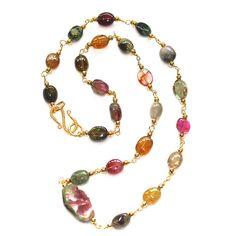 Rustic Watermelon Tourmaline Slice Necklace Rainbow Tourmaline Station Necklace Gemstone Jewelry, #necklace, #tourmaline, #station, #rainbow, #watermelon, #fizzcandy