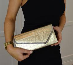 Mimi & Thomas Croc Effect Metallic Clutch - Gold
