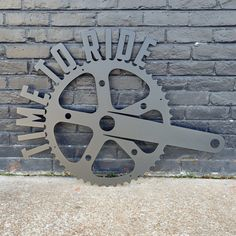 Time to Ride! Bike Gear - Fitness Home Gym Sign - Work Out, Exercise, Biking Wall Art Bicycle Crafts, Table Maker, Bike Trainer, Gear Art, At Home Gym, Metal Signs, Metal Wall Art, Biking, Wall Design