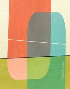 bollard - mid century design art print by pool pony. (Possible quilt inspiration. Mid Century Modern Living Room, Mid Century Art, Mid Century Modern Design, Motifs Textiles, Grafik Design, Mid-century Modern, Modern Pools, Design Art, Design Ideas
