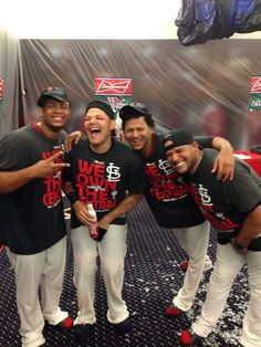 Perez and Molina and Martinez and Bengie Molina and Yadis face.. hahaha. Words cannot describe how much I love this team.  9/27/13