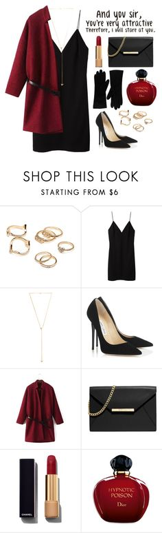 """Red & Black"" by mariafalter ❤ liked on Polyvore featuring Forever 21, T By Alexander Wang, Joolz by Martha Calvo, Jimmy Choo, MICHAEL Michael Kors, Chanel and Christian Dior"