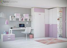 Habitación con cama abatible vertical y mesa.Elmenut