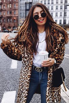 How To Wear An Animal Printed Coat White Top Plus Bag Plus Jeans