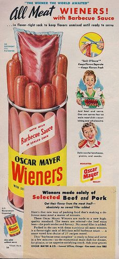 The Wiener the World Awaited. Oscar Mayer All Meat Wieners with Barbecue Sauce, Woman's Day The Wiener the World Awaited. Oscar Mayer All Meat Wieners with Barbecue Sauce, Woman's Day Old Advertisements, Retro Advertising, Retro Ads, Vintage Ads, Vintage Looks, Vintage Posters, Vintage Prints, Retro Food, 1950s Ads