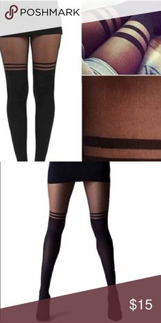 • Faux Thigh High Look Striped Stockings New in package! One size Intimates & Sleepwear