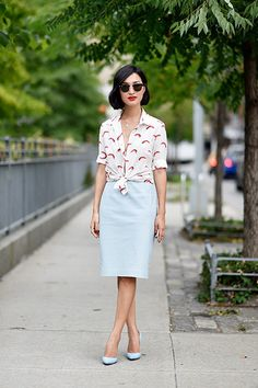 Pretty pale blue pencil skirt.