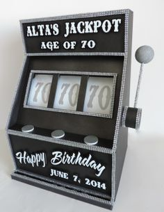 Slot machines work for ANY age or casino/gambling theme. This was a gift card box.