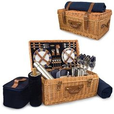 Wicker Picnic Basket Set.  Just what you need for a picnic!