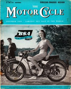 Young woman riding a BSA Bantam on the cover of Motor Cycle.