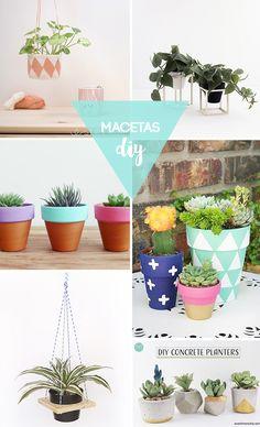 Selección de ideas diy para renovar las macetas de vuestra casa y darle otro aire nuevo y divertido a vuestras plantas esta primavera.