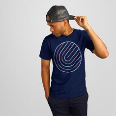 Solehab Circle Maze Design Navy T-Shirt - Printed on 100% ringspun cotton - Available for men and women - Manufactured and printed in the USA - #solehab #fashion #tshirt #tee #menfashion #womenfashion #design #style