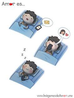Amor es dormir feliz despues de un mensaje tuyo ♥