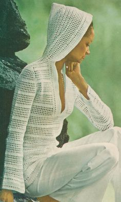Vintage 1970s Hooded Pullover Crochet Pattern PDF - make it longer with light cotton for a cute bathing suit coverup