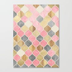 A pretty, pale, soft and rosy pattern of Moroccan tiles, with a touch of gold paint and warm wood.<br/> <br/> pink...