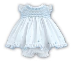 Sleeveless White Dress with Blue Hand-Smocked Stretch Panel Top and Embroidered Flowers for Baby Girls | Diaper Cover (Bloomers) Included