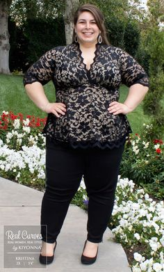 """Customer Service Sensation Kristina (5'4"""") is all smiles in our plus size Linden…"""