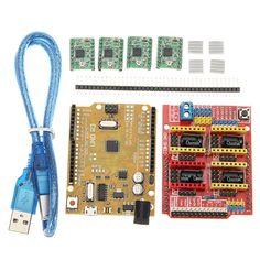 CNC Shield V3 Expansion Board + 4xA4988 Step Motor Driver Module + UNO R3 Board kit For Arduino 3D Printer