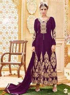 Purple Georgette Center Slit Anarkali Suit 90670