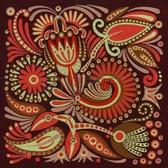 embellishment: hand draw acrylic painting flower vector ethnic design. Ukrainian traditional painting