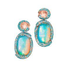 WAVES - Welo Opale  gefasst in Silberbronze besetzt mit Paraiba Turmalinen, gelben Saphiren und Diamanten.