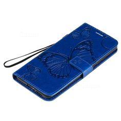 Embossing 3D Butterfly Leather Wallet Case for Xiaomi Redmi K30 Pro - Blue - Mi Xiaomi Redmi K30 Pro Cases - Guuds Leather Wallet, Pu Leather, Leather Case, Nokia 2, P8 Lite, Ipad Pro 12 9, Butterfly Pattern, Note 9, Ipad Mini