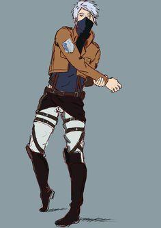 """Kakashi Hatake cosplay """"Attack on Titan"""" Naruto Kakashi, Anime Naruto, Naruto Boys, Naruto Art, Anime Manga, Anime Guys, Boruto, Shikamaru, Attack On Titan"""