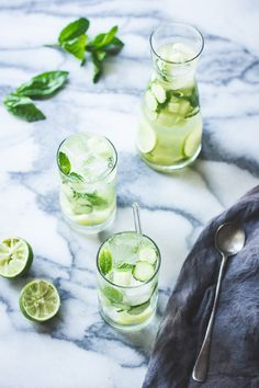 Sangria verde with cucumber, melon, mint, basil and lime