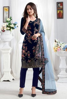 Navy Blue Color Premium velvet Party Wear Designer Salwar Kameez Special Get up to off Sale Designer Salwar Kameez, Designer Sarees, Pakistani Suits, Salwar Suits, Punjabi Suits, Pakistani Dresses, Aqua Blue, Magenta, Color Blue