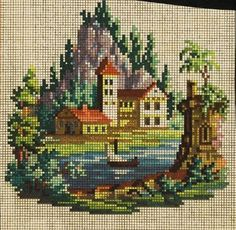A Charming Berlin WoolWork Chart Cross Stitch House, Mini Cross Stitch, Cross Stitch Kits, Cross Stitch Charts, Modern Cross Stitch Patterns, Cross Stitch Designs, Hand Embroidery Flowers, Embroidery Patterns, Cross Stitching