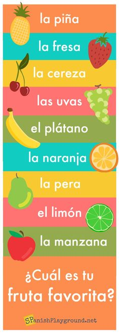 Fruit in Spanish: Learning Activities for Kids - Spanish Playground