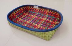 Rectangular kottan tray.. check out the colors used. Adds vibrancy to any boring corners of your home