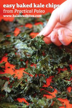 Baked Kale Chips -                                                   Baked kale chips are a great way to prepare kale for kids and fickle family members, as well as a convenient way to ensure you can eat this fantastic, super-powered vegetable on-the-go!  #21dsd #kalechips #practicalpaleo