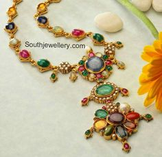 22 carat gold antique finish beautiful navratna necklace studded with different gemstones and diamonds. Bridal Jewelry, Gemstone Jewelry, Beaded Jewelry, Gold Jewelry, Bridal Necklace, Trendy Jewelry, Fashion Jewelry, Pearl Necklace Set, Pandora Necklace