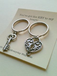 Key and Lock Key Chain Set Couple Key Ring Gift, Monogram Inital, Husband and Wife, Girlfriend and Boyfriend, You've got the key to my heart