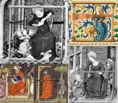 Lots more pics of medieval women tablet weaving. Not that the top stave is so high on the loom in these pics, in contrast to modern reconstructions.