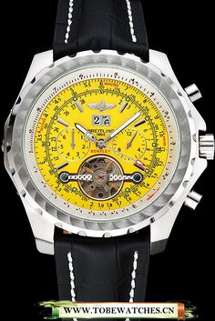 Breitling Bentley Mulliner Tourbillon Yellow Dial Stainless Steel Case Black Leather Strap En120711