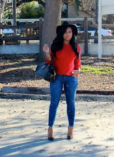 red knitted sweater + paint splattered jeans | Major Must Haves | Bloglovin'